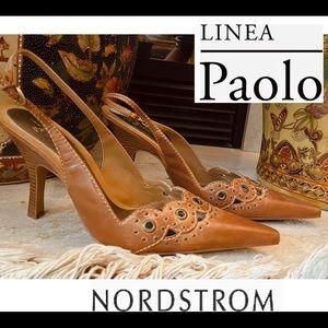 LINEA Paolo 12 W Leather Caramel Slingback Pumps